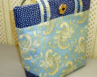 French Blue, Blue and Yellow Paisley, Handbag, Tote, Purse,  Decorator Cotton, Navy Blue, White Polka Dots,Paisley, Tote Bag, Yellow Paisley