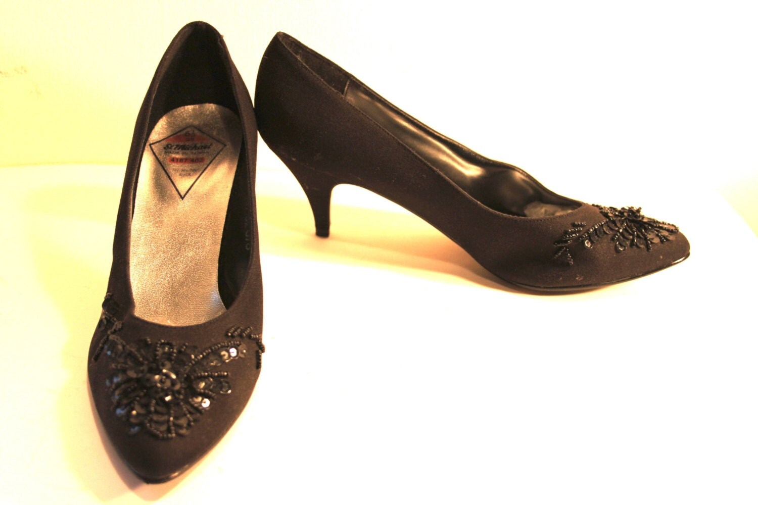 black beaded 50s style evening shoes reduced