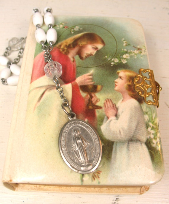 Vintage Catholic Child's Missal and Vintage Virgin Mary hand rosary. Key of Heaven A Manual of Prayers. 1952