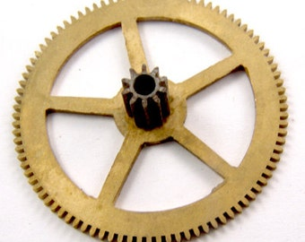 "Vintage BRASS Clock Gear Sprocket 1 1/2"" For Steampunk Projects 4601"