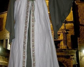 FREE SHIP Medieval Renaissance SCA Garb Costume Tan Sage One Piece Laceup LoTR ButtrflySlvs lxl