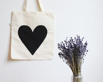 Eco Love Heart Tote Bag - Black