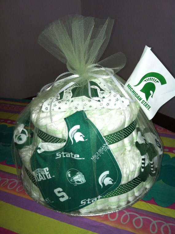 Michigan State Two Tier Diaper Cake