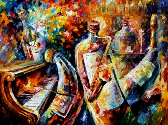 Bottle Jazz — Palette Knife Abstract Wall Art Music Oil Painting On Canvas By Leonid Afremov