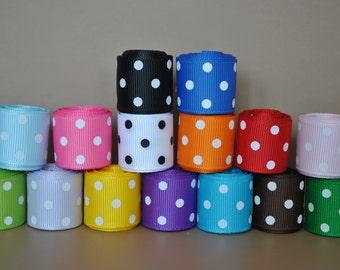 "75 yards  -7/8"" grosgrain ribbon polka dot"