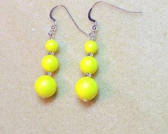 Swarovski Neon Yellow Pearl Drop Earrings perfect for Summer