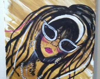 Acrylic Painting of Female with Sunglasses-abstract with embellishments