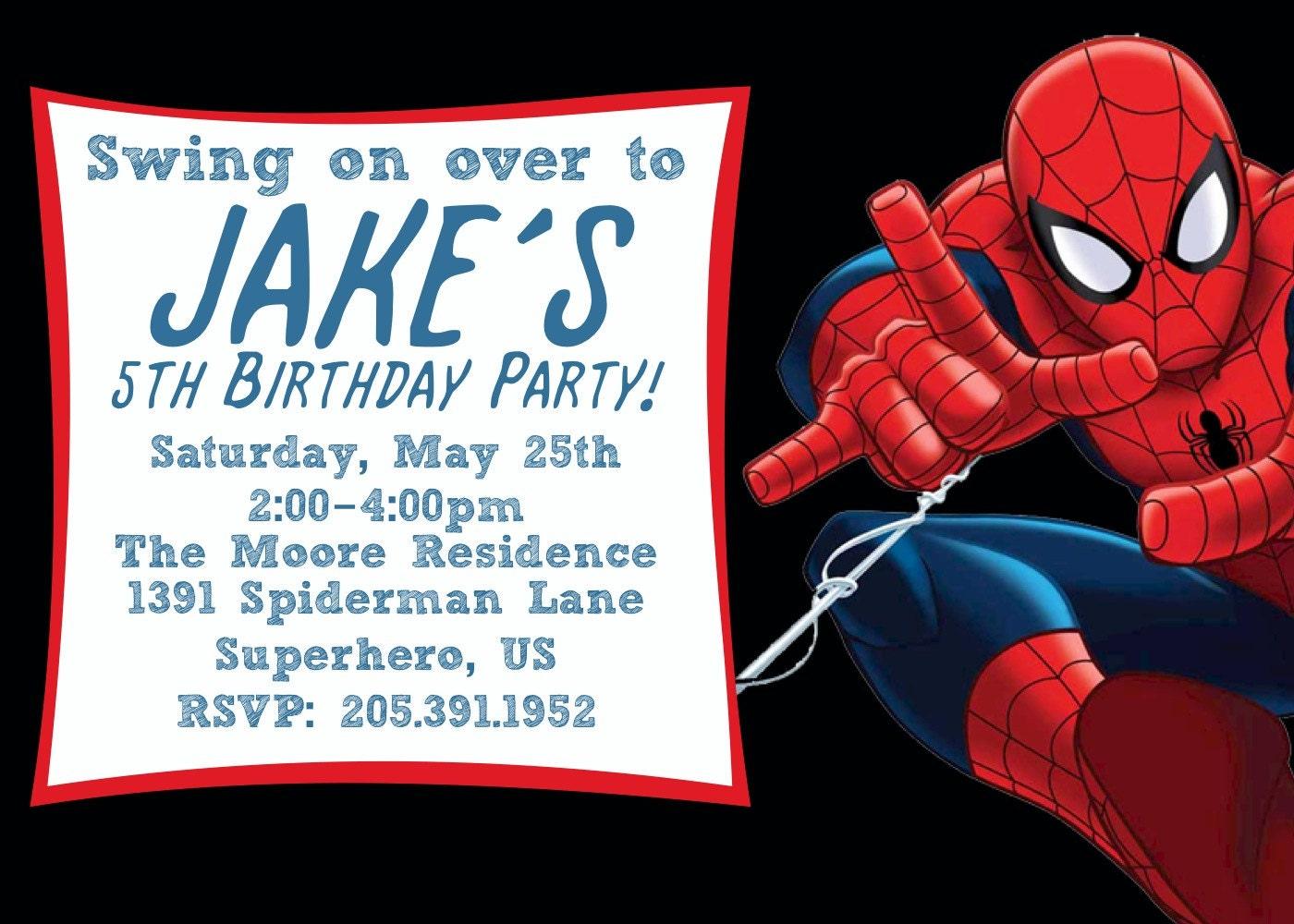 It is an image of Satisfactory Printable Spiderman Invitations