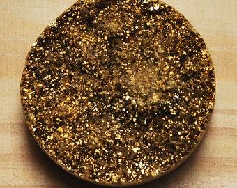 g1700 25mm Drusy druzy crystal titanium round cab cabochon Golden