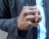 Flying Lotus carved oak handmade mens ring