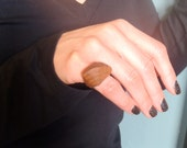 shield handmade oak wood ring