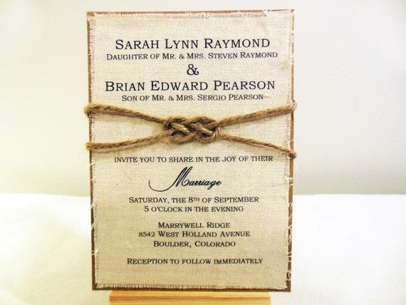 Fabric Wedding Invitations: Rustic Burlap Fabric Wedding Invitation Custom By