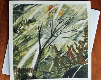 Breeze I - Blank Greeting Card from an Original Monotype Print