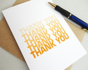 Thank you card orange shades ombre any occasion minimalist