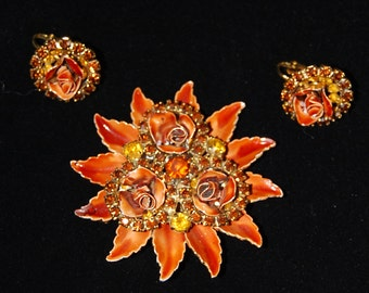 weiss brooch and earring set signed
