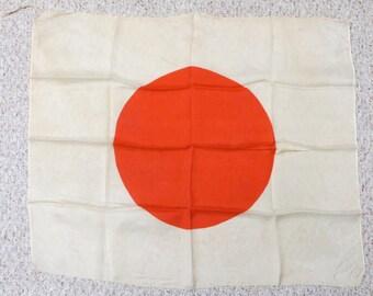 Original 1940's WW II Japanese Meatball Prayer Flag War Souvenir - Free Shipping
