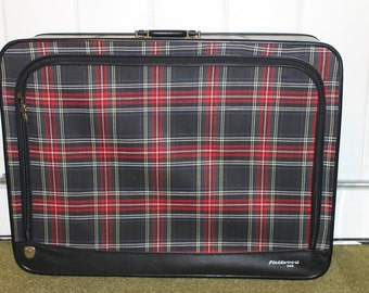 Vintage Fleetwood 500 Black Plaid Suitcase - Large
