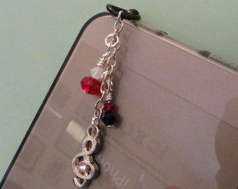 Treble Clef rhinestone cell phone charm, dust plug charm