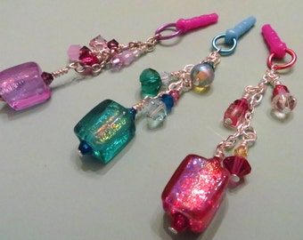 Choose your color-- Dichroic cell phone charm, dust plug charm