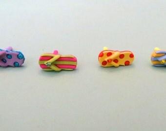Choose your color-- Swarovski Flip-Flop cell phone charm, dust plug charm