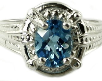 SR284, Swiss Blue Topaz, Sterling Silver Ring