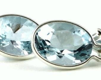 Aquamarine, 925 Sterling Silver Leverback Earrings, SE001