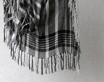 Vintage black & white cotton scarf, large keffiyeh with fringe Mens Fashion