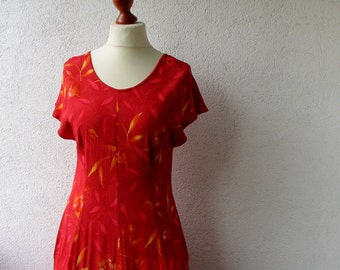 Poppy Red Floral Maxi Dress, Vintage 80s Sleeveless Summer Day Dress Medium M, Bohemian chic clothing