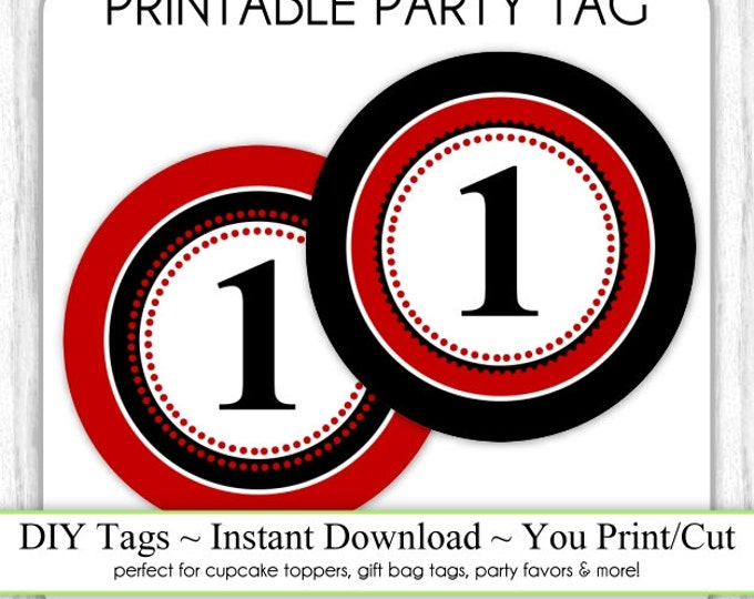 Instant Download - Red and Black Party Tag, 1st Birthday Ladybug Party Tags, DIY Cupcake Topper, You Print, You Cut