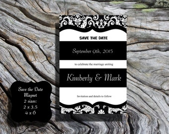 Black and white Damask Save the Date POSTCARD with envelope