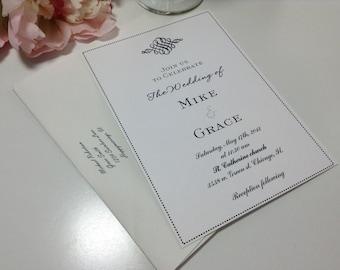 100 Wedding Invitations, invites  Elegant black and white embellishment wedding invites