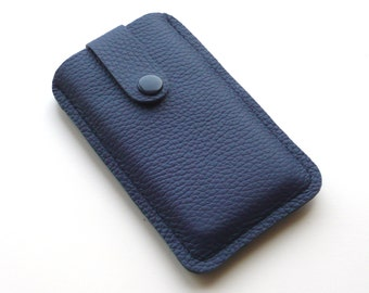 Navy leather smartphone case custom-made e.g. for iPhone 6