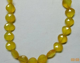 Rush Yellow Chalcedony Faceted Heart Briolette-Yellow Chalcedony Faceted Heart Briolette Beads