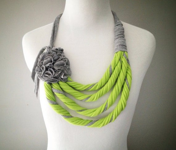 Lime Green & Grey Tshirt Necklace - Infinity Scarf - Asymmetrical with Flower - From Repurposed Tshirts