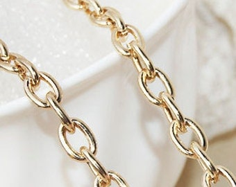 Light gold  fine chain  oval-shaped O type chain 5 meters The width of 5mm cable chain