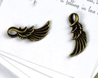 15 pcs of antique bronze bird wings  Charm Pendants 20x12mm