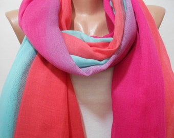 Mothers Day Gift Ombre Cowl Scarf Shawl Fuchsia Mint Green Coral Scarf Sarong Women Fashion Accessory Graduation Scarf Gifts For Her For Mom
