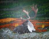 "The Autumn Elk - 30"" x 24"" Original Acrylic Painting"