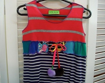 Little girls hippie dress-upcycled with bobble tie
