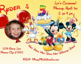 Mickey Mouse Printable Birthday Invitation, Personalized Mickey Mouse Invite