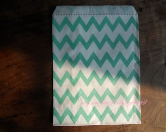 Favor Bags 50 Turquoise Chevron Paper Favor Bags-Party Paper Bags-Popcorn Bag-Candy Wedding favor bag-Birthday Party Favor Bags in Bulk