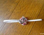Newborn Fabric Flower Elastic Headband - Upcycled