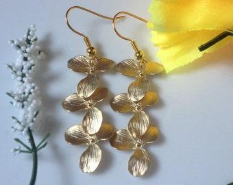 Triple orchid flower earrings,gold drop dangle earrings, Bridal earrings,Beautiful Christmas gift ,
