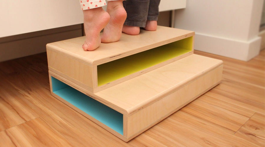 Stepup Ii A Modern Step Stool Designed For Two Kids
