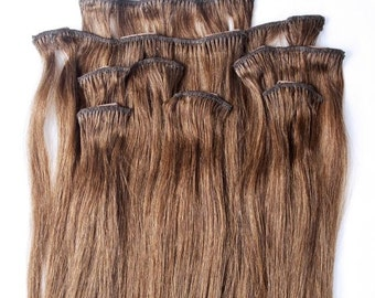 24 inches 7pcs Clip In Human Hair Extensions 6 Medium Chestnut Brown