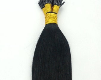 22inches 100grs,100s,Stick (I) Tip Human Hair Extensions  1 Jet Black