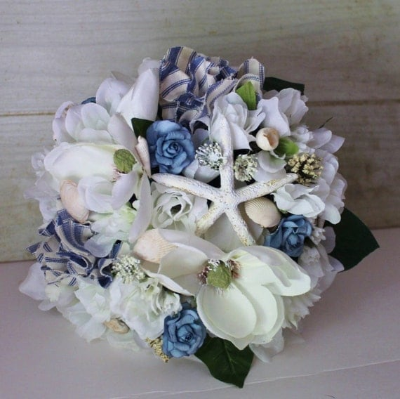 Bridal Bouquet Nautical Items Similar To Wedding Rustic Chic Blue And White Starfish