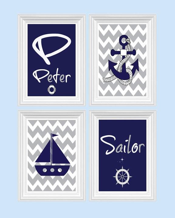 Boys Bedroom Decor Nautical Nursery Decor Custom by