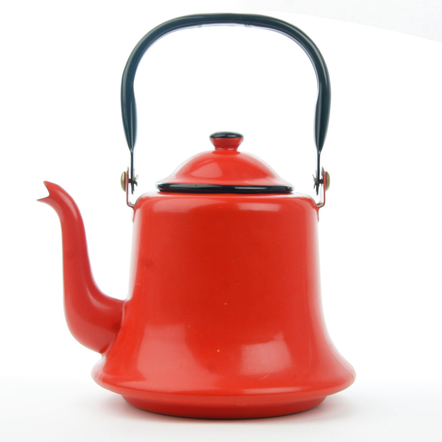 Red Tea Kettle ~ Vintage red enamel tea kettle teapot
