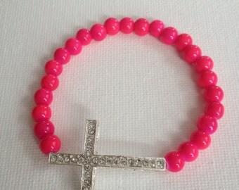 Sideways Cross Bracelet in Bright Pink